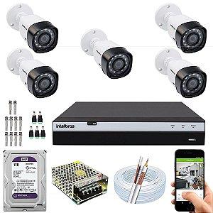 Kit CFTV Intelbras 05 Câmeras VHD 1220 B G4 e DVR de 08 Canais MHDX 3108 1TB WD Purple