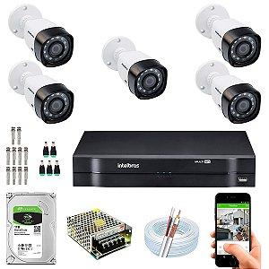 Kit CFTV Intelbras 05 Câmeras VHD 3230 B G4 e DVR de 08 Canais MHDX 1108