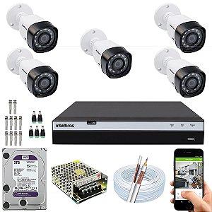 Kit CFTV Intelbras 05 Câmeras VHD 3230 B G4 e DVR de 08 Canais MHDX 3108 2TB WD Purple