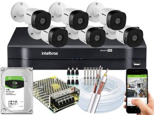 Kit CFTV Intelbras 06 Câmeras VHD 1010 B G5 e DVR de 08 Canais MHDX 1108