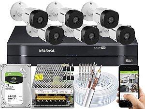 Kit CFTV Intelbras 06 Câmeras VHD 1010 B G5 e DVR de 08 Canais MHDX 1108 10A