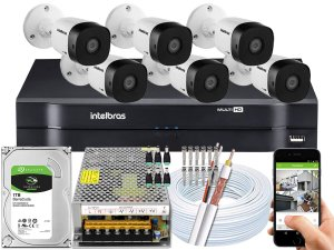 Kit CFTV Intelbras 06 Câmeras VHD 1120 B G5 e DVR de 08 Canais MHDX 1108 10A