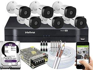 Kit CFTV Intelbras 06 Câmeras VHD 1120 B G5 e DVR de 08 Canais MHDX 1108 1TB WD Purple