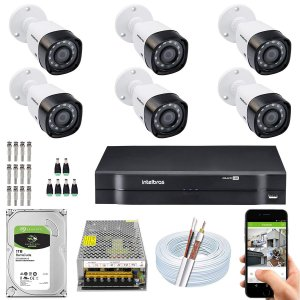 Kit CFTV Intelbras 06 Câmeras VHD 1220 B G4 e DVR de 08 Canais MHDX 1108 10A