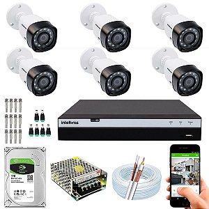 Kit CFTV Intelbras 06 Câmeras VHD 1220 B G4 e DVR de 08 Canais MHDX 3108