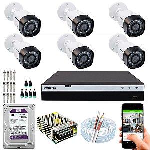 Kit CFTV Intelbras 06 Câmeras VHD 1220 B G4 e DVR de 08 Canais MHDX 3108 1TB WD Purple