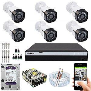 Kit CFTV Intelbras 06 Câmeras VHD 1220 B G4 e DVR de 08 Canais MHDX 3108 2TB WD Purple