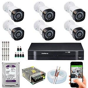 Kit CFTV Intelbras 06 Câmeras VHD 3230 B G4 e DVR de 08 Canais MHDX 1108 1TB WD Purple