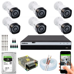 Kit CFTV Intelbras 06 Câmeras VHD 3230 B G4 e DVR de 08 Canais MHDX 3108