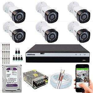 Kit CFTV Intelbras 06 Câmeras VHD 3230 B G4 e DVR de 08 Canais MHDX 3108 1TB WD Purple