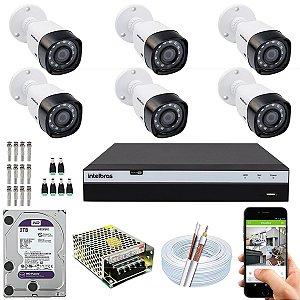 Kit CFTV Intelbras 06 Câmeras VHD 3230 B G4 e DVR de 08 Canais MHDX 3108 2TB WD Purple