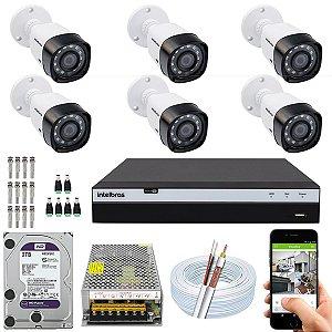 Kit CFTV Intelbras 06 Câmeras VHD 3230 B G4 e DVR de 08 Canais MHDX 3108 2TB WD Purple 10A