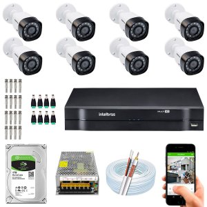 Kit CFTV Intelbras 08 Câmeras VHD 1220 B G4 e DVR de 08 Canais MHDX 1108