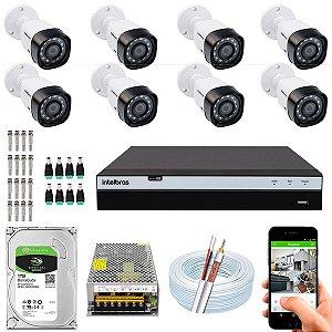 Kit CFTV Intelbras 08 Câmeras VHD 1220 B G4 e DVR de 08 Canais MHDX 3108
