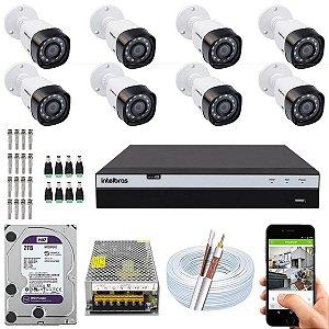 Kit CFTV Intelbras 08 Câmeras VHD 1220 B G4 e DVR de 16 Canais MHDX 3116 2TB WD Purple