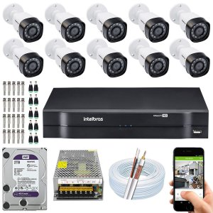 Kit CFTV Intelbras 10 Câmeras VHD 1220 B G4 e DVR de 16 Canais MHDX 1116 2TB WD Purple
