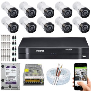 Kit CFTV Intelbras 10 Câmeras VHD 3230 B G4 e DVR de 16 Canais MHDX 1116 2TB WD Purple