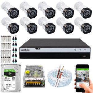 Kit CFTV Intelbras 10 Câmeras VHD 3230 B G4 e DVR de 16 Canais MHDX 3116