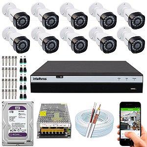 Kit CFTV Intelbras 10 Câmeras VHD 3230 B G4 e DVR de 16 Canais MHDX 3116 1TB WD Purple