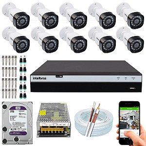 Kit CFTV Intelbras 10 Câmeras VHD 3230 B G4 e DVR de 16 Canais MHDX 3116 2TB WD Purple