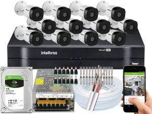 Kit CFTV Intelbras 12 Câmeras VHD 1010 B G5 e DVR de 16 Canais MHDX 1116