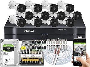Kit CFTV Intelbras 12 Câmeras VHD 1120 B G5 e DVR de 16 Canais MHDX 1116