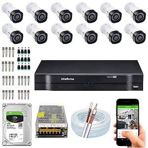 Kit CFTV Intelbras 12 Câmeras VHD 3130 B G4 e DVR de 16 Canais MHDX 1116