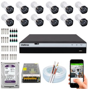 Kit CFTV Intelbras 12 Câmeras VHD 3230 B G4 e DVR de 16 Canais MHDX 3116 1TB WD Purple