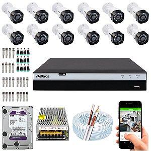 Kit CFTV Intelbras 12 Câmeras VHD 3230 B G4 e DVR de 16 Canais MHDX 3116 2TB WD Purple