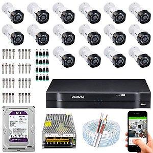 Kit CFTV Intelbras 16 Câmeras VHD 1220 B G4 e DVR de 16 Canais MHDX 1116 1TB WD Purple