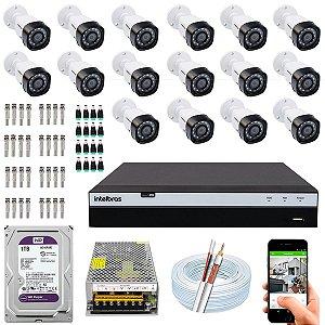 Kit CFTV Intelbras 16 Câmeras VHD 1220 B G4 e DVR de 16 Canais MHDX 3116 1TB WD Purple