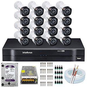 Kit CFTV Intelbras 16 Câmeras VHD 3230 B G4 e DVR de 16 Canais MHDX 1116 2TB WD Purple