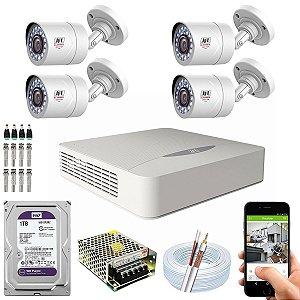 Kit CFTV JFL 04 Câmeras CHD-1110P e DVR de 04 Canais DHD-2104N 1TB WD Purple