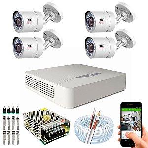 Kit CFTV JFL 04 Câmeras CHD-1110P e DVR de 04 Canais DHD-2104N S/ HD