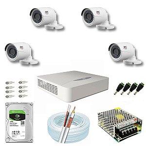 Kit CFTV JFL 04 Câmeras CHD-2230P e DVR de 04 Canais DHD-2104N 1TB