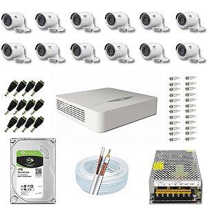 Kit CFTV JFL 12 Câmeras CHD-2230P e DVR de 16 Canais DHD-2116N