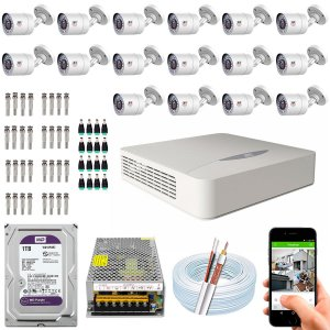 Kit CFTV JFL 16 Câmeras CHD-1110P e DVR de 16 Canais DHD-2116N 1TB WD Purple