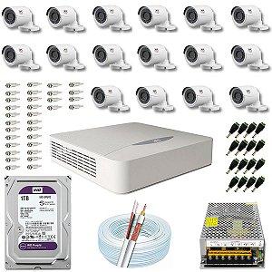 Kit CFTV JFL 16 Câmeras CHD-1130P e DVR de 16 Canais DHD-2116N 1TB WD Purple