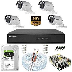 Kit CFTV Hikvision 04 Câmeras DS-2CE16C0T e DVR de 04 Canais DS-7204 1TB