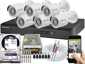 Kit CFTV Hikvision 06 Câmeras THC-B110C-P e DVR de 08 Canais DS-7208 1TB WD Purple 10A