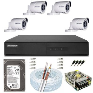 Kit CFTV Hikvision 04 Câmeras THC-B120C-P e DVR de 04 Canais DS-7204 500GB