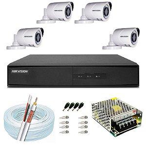 Kit CFTV Hikvision 04 Câmeras THC-B120C-P e DVR de 04 Canais DS-7204 S/ HD