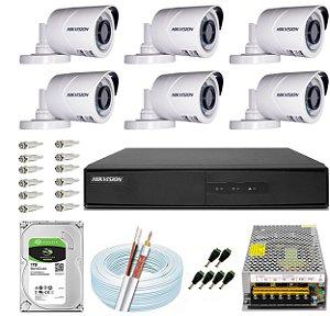 Kit CFTV Hikvision 06 Câmeras THC-B120C-P e DVR de 08 Canais DS-7208 10A