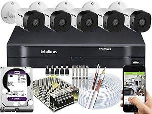 Kit CFTV Intelbras 05 Câmeras VHD 1010 B G5 e DVR de 08 Canais MHDX 1108 1TB WD Purple