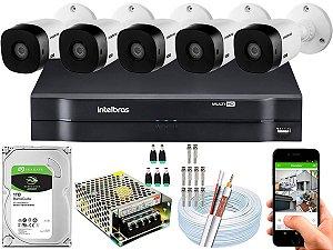 Kit CFTV Intelbras 05 Câmeras VHL 1220 B e DVR de 08 Canais MHDX 1108