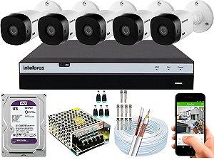 Kit CFTV Intelbras 05 Câmeras VHL 1220 B e DVR de 08 Canais MHDX 3108 1TB WD Purple