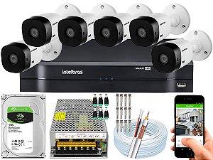 Kit CFTV Intelbras 06 Câmeras VHL 1220 B e DVR de 08 Canais MHDX 1108 10A