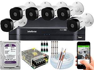 Kit CFTV Intelbras 06 Câmeras VHL 1220 B e DVR de 08 Canais MHDX 1108 1TB WD Purple