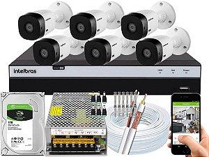 Kit CFTV Intelbras 06 Câmeras VHL 1220 B e DVR de 08 Canais MHDX 3108 10A