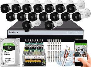 Kit CFTV Intelbras 16 Câmeras VHL 1220 B e DVR de 16 Canais MHDX 3116